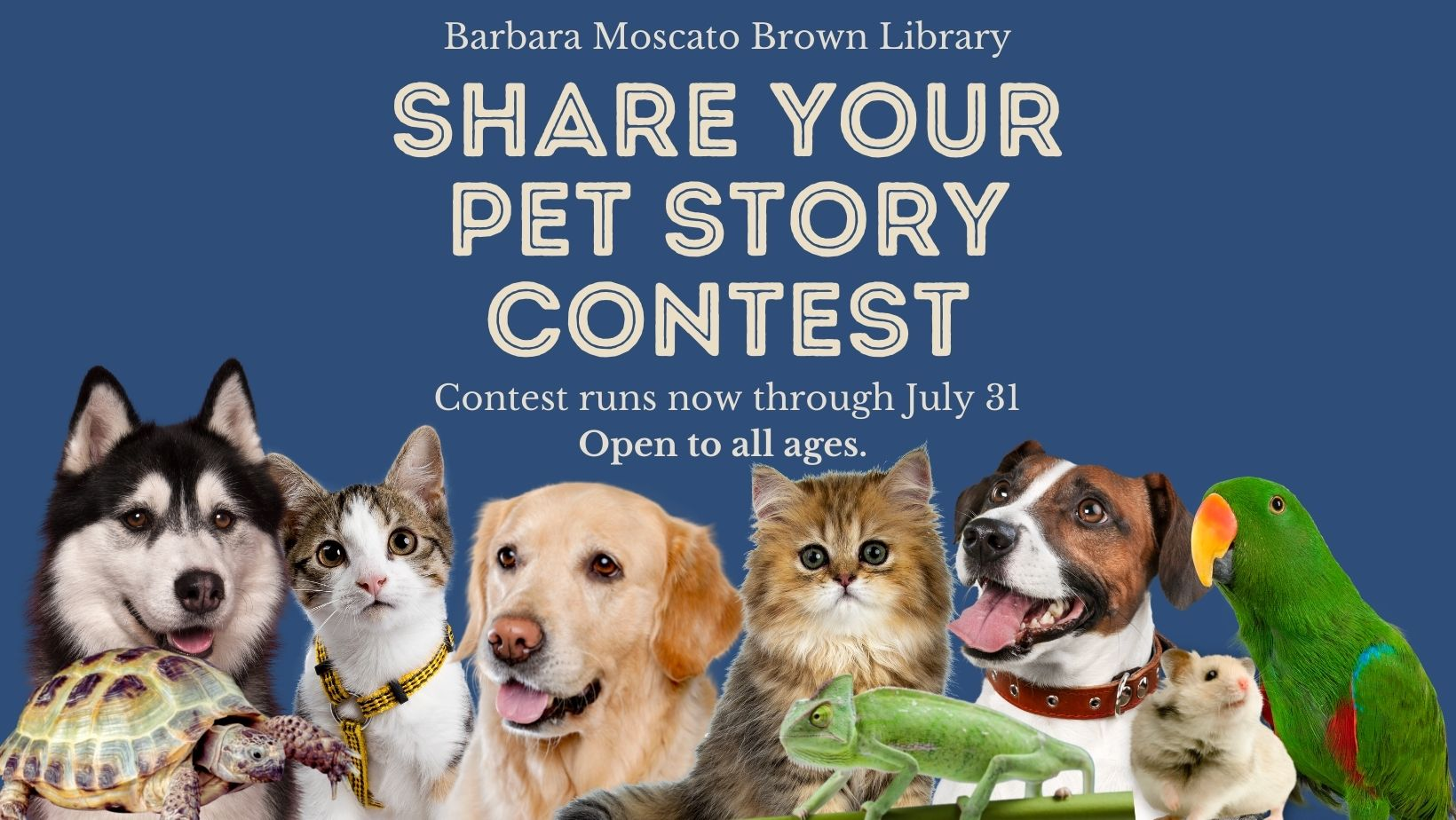 """Image shows """"Share Your Pet Story Contest"""" flyer which includes a husky, turtle, white and brown kitten, golden retriever"""